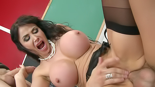 A huge tits milf is getting her pussy and ass stretched a lot