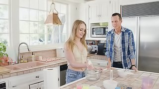 Daisy Stone is a naughty babe fucked hard in a kitchen