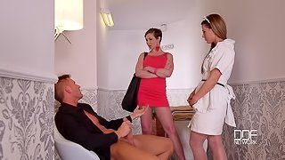 The Upskirt Gawker - Filthy Cock Sharing In Hotel Corridor