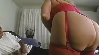 Old plump lady pump by two black guys