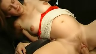 Those natural tits bounce as she rides his fat cock