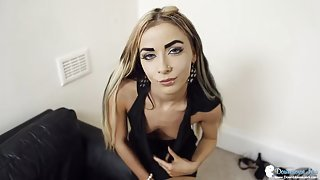 Tiny tits British girl in a sexy little black dress