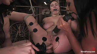 Amateur gets her big tits tied and shocked for the FIRST TIME ever!
