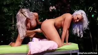 Blonde hotties Britney Amber and Kimber James play with a pink toy