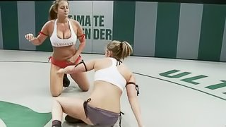 Jessie Cox and Trina Michaels make lesbian love after struggling on tatami