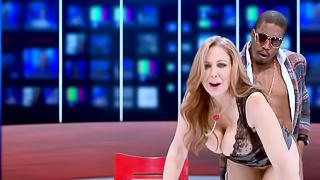 Live video from the studio with TV anchor and her black guest