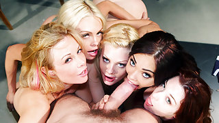 Jesse Jane, Kayden Kross, Riley Steele, Selena Rose, Stoya & Manuel Ferrara  in Code of Honor, Scene 7