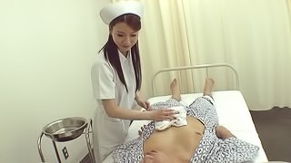 Marvelous Asian bimbo with long hair in uniform riding massive cock hardcore while moaning