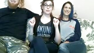 Two horny babes and one hard big cock playing naughty on webcam