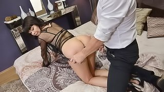 Sweet Asian MILF with full lips Sasha Colibri fucks with a young man