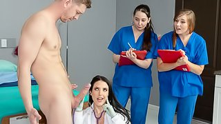 Astonishing busty brunette Angela White rides a doctor's cock