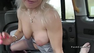 Busty babe rims driver in fake taxi