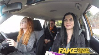 Fake Driving School readhead teen lets busty examiner have her way
