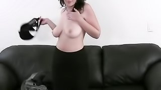 Busty harlot takes it off for an agent