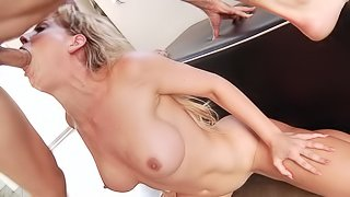 Milf tries over sized cock in both holes