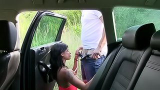 Chick being fucked by a big dick in the car