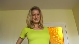 Lustful blonde wearing pantyhose gets fucked in standing & other poses