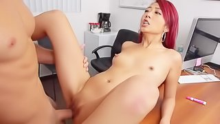 Asian babe is getting fucked hard