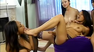 Asian group of pornstars have orgy with strapons