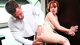 Ginger woman is being banged wildly