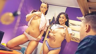 Slutty girls Kristy Black and Liv Revamped are enjoying his dick