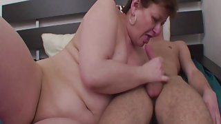 Fat Mama Anal Fucked In Young Boy's Room