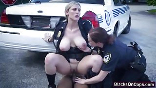Outdoor fucking with hot female police officers and a black stud