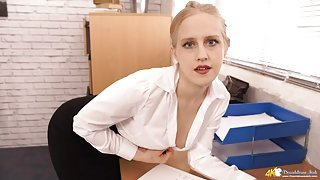 Blonde secretary opens her blouse to tease her titties