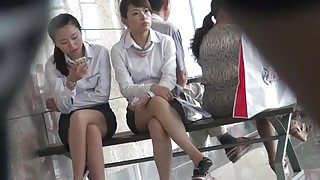 Sexy Asian Dangling Outside office in nylons Shoeplay