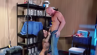 A curvy tattooed lady is on the bed and she is getting fucked