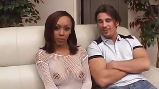 Ebony girl takes a big load in her cunt