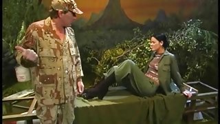 Military man sucks the toes of sexy girl