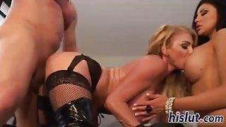 Raunchy threesome session with two hot starlets