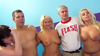 Group of hot young babes screw around