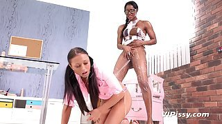 Black Mistress Teaches Her White Slave How To Eat Pussy