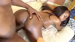 Awesome ebony is swallowing big black dick