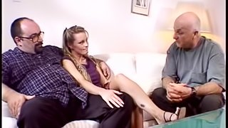 Cute blonde gets fucked hard in the presence of two old men