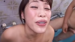 Miku Sunohara In A Hairy Gangbang Oral Sex With A Cumshot
