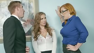 Horny secretaries want to make their boss super randy