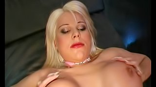 Chubby blonde whore with stunning fake tits and a gorgeous shaved cunt having threeway fun