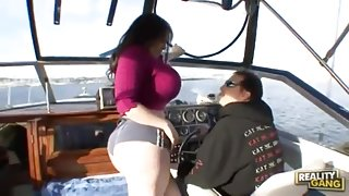 Amazing buxomy lady brings man to ejaculation in the open