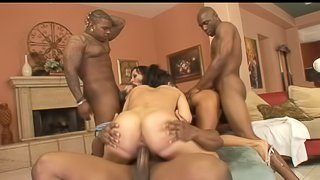 Bootylicious chick and her best friend penetrated by the ebony cocks