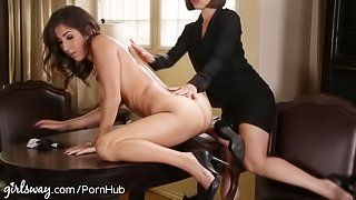 April O'Neil Punished by Lesbian Boss for Slutty Dress