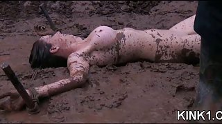 Bound slut in mud