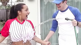 Baseball get-up Indian chick seduced and fucked on cam