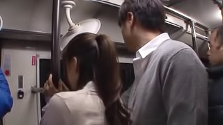 Tanned Japanese bitch gets pricked hardcore in the train