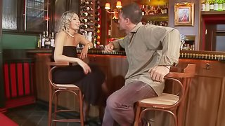 Fucking a luscious blonde babe's butthole at a bar