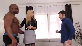 Black guy gets to fuck India Summer in front of her boyfriend