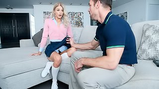 Cute small-tit blonde Emma Hix is having sex with a muscled coach