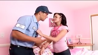 Stephanie Sage seduces a cop and lets him fuck her teen pussy